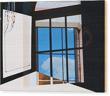 Window Treatment Wood Print by Lenore Senior
