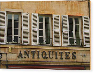 Wood Print featuring the photograph Windows Of Antiquites by Laurel Talabere