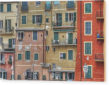 Windows Of Camogli Wood Print by Joana Kruse