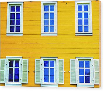 Windows On Yellow Wood Print by Randall Weidner