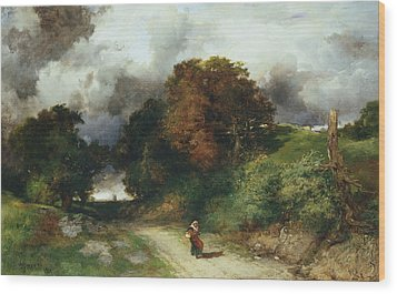 Windy Hilltop Wood Print by Thomas Moran