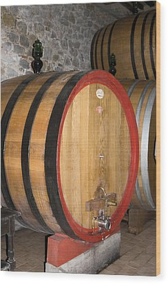 Wine Aging Wood Print by Sally Weigand