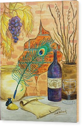Wine And Feather Wood Print by Lee Halbrook