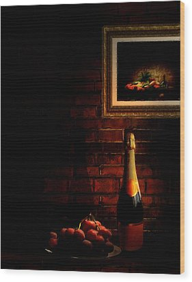 Wine And Grape Wood Print by Lourry Legarde