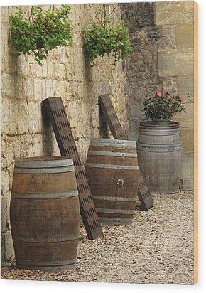 Wine Barrels And Racks In Saint Emilion France Wood Print by Greg Matchick