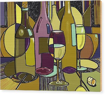 Wine Bottle Deco Wood Print by Peggy Wilson