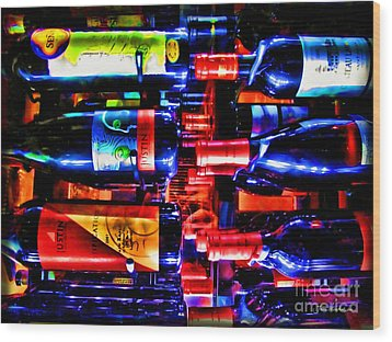 Wine Bottles Wood Print by Joan  Minchak