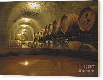 Wine Cellar Wood Print by Micah May