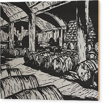 Wine Cellar Wood Print by William Cauthern