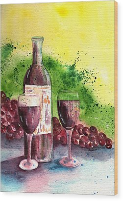 Wine For Two - 2 Wood Print by Sharon Mick