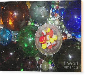 Wine Glass And Marbles Wood Print by Rachel Carmichael