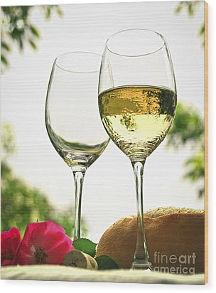 Wine Glasses Wood Print by Elena Elisseeva