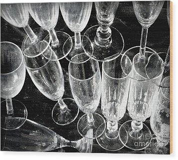 Wine Glasses Wood Print by Lainie Wrightson