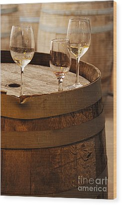 Wine Glasses On An Old Wine Barrel  Wood Print by Michael Gray