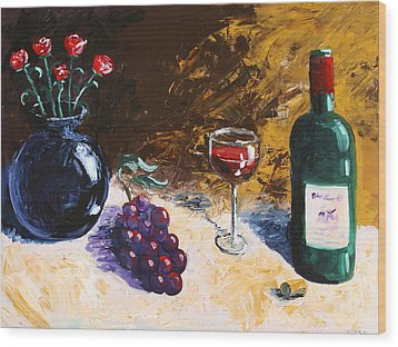 Wood Print featuring the painting Wine Grapes And Roses Still Life Painting by Mark Webster