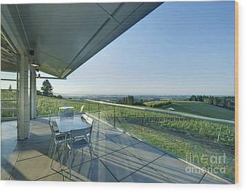 Wine Tasting Balcony Wood Print by Rob Tilley