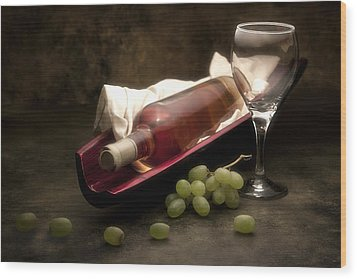 Wine With Grapes And Glass Still Life Wood Print by Tom Mc Nemar