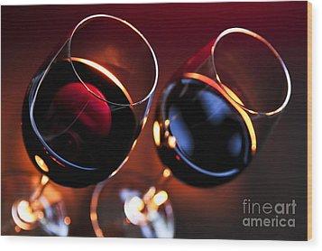 Wineglasses Wood Print by Elena Elisseeva