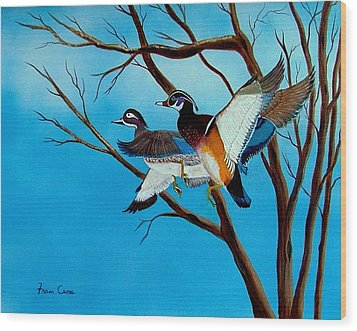 Wingin'  It Wood Print by Fram Cama