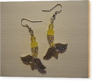 Wings Of An Angel Earrings Wood Print by Jenna Green