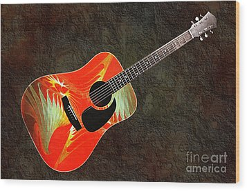 Wings Of Paradise Abstract Guitar Wood Print by Andee Design