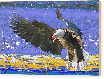 Wood Print featuring the digital art Wings On High by Carrie OBrien Sibley