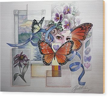 Wings With Hearts Wood Print by Elizabeth Shafer