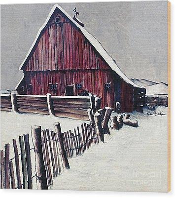 Winter Barn Wood Print by Robert Birkenes
