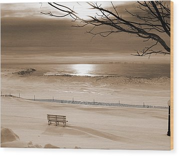 Winter Beach Morning Sepia Wood Print by Bill Pevlor