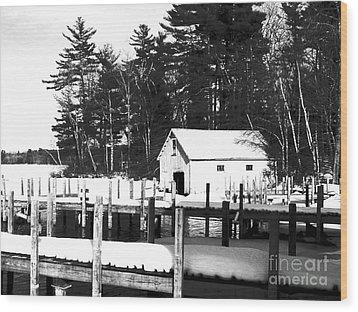 Winter Boathouse Wood Print by Christy Bruna