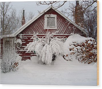 Winter Cabin  Wood Print by Wesley Hahn