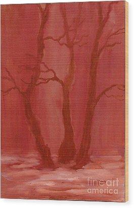 Winter Evening In The Park Wood Print by Anna Folkartanna Maciejewska-Dyba