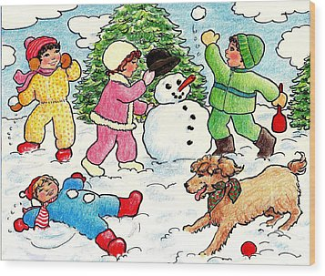 Wood Print featuring the drawing Winter Fun by Dee Davis