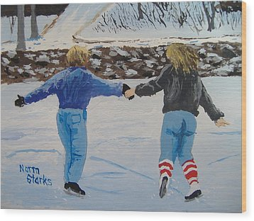 Wood Print featuring the painting Winter Fun by Norm Starks