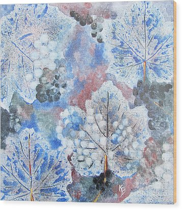 Wood Print featuring the painting Winter Grapes I by Karen Fleschler