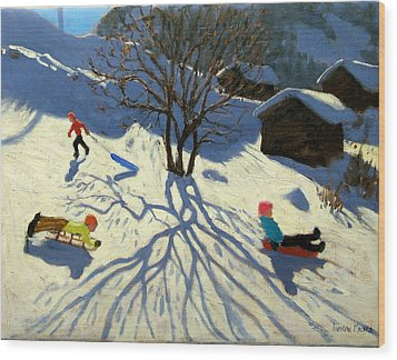Winter Hillside Morzine France Wood Print by Andrew Macara