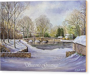 Winter In Ashford Xmas Card Wood Print by Andrew Read