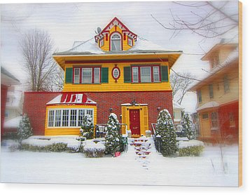 Winter In Ditmas Park Wood Print by Mark Gilman
