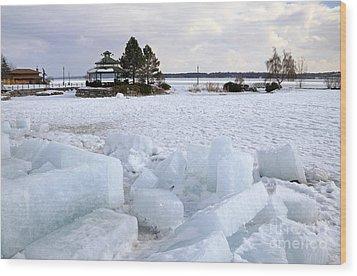 Winter In Lake Simcoe Wood Print by Charline Xia