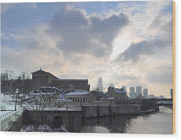 Winter In Philly Wood Print by Bill Cannon