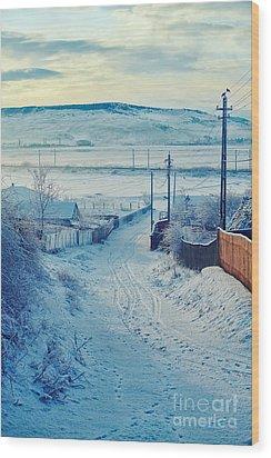Winter In Romanian Countryside Wood Print by Gabriela Insuratelu