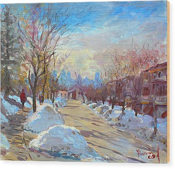 Winter In Silverado Dr Mississauga On Wood Print by Ylli Haruni