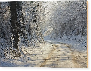 Winter In Small Countryside Road Wood Print by © Frédéric Collin