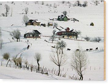 Winter In The Village Wood Print by Emanuel Tanjala