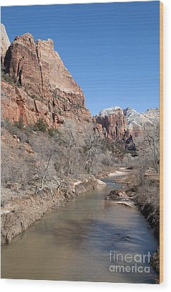 Winter In Zion 2 Wood Print by Bob and Nancy Kendrick