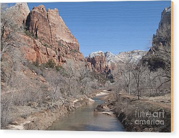 Winter In Zion Wood Print by Bob and Nancy Kendrick