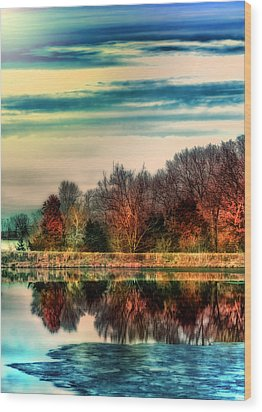 Winter Lake Fantasm Wood Print by Bill Tiepelman