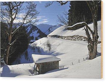 Winter Landscape Wood Print by Matthias Hauser