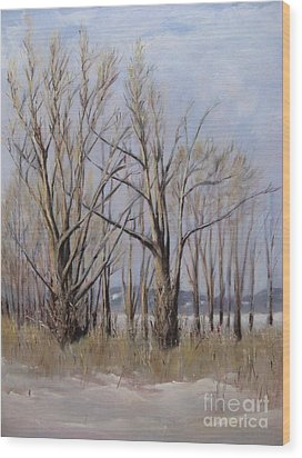 Winter Maples Wood Print