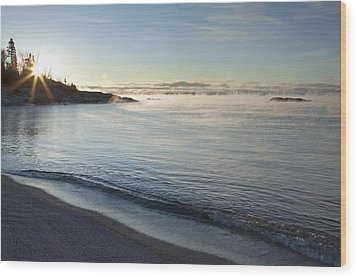Winter Mist On Lake Superior At Sunrise Wood Print by Susan Dykstra